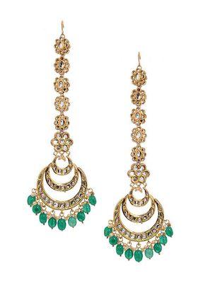 Kundan Chandbaali With Floral Ear Chain