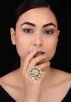 Kundan Floral Ring
