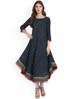 Women's Cotton Designer Printed Anarkali Kurti