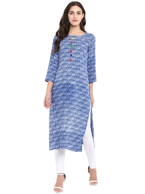 Light-blue printed rayon kurtas and kurtis