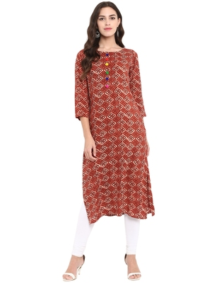 Multicolor printed rayon kurtas and kurtis