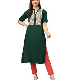 Dark-green printed rayon kurtas and kurtis