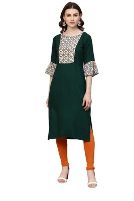 Dark-green printed rayon kurtas and kurtis