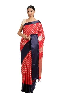Red woven katan silk saree with blouse