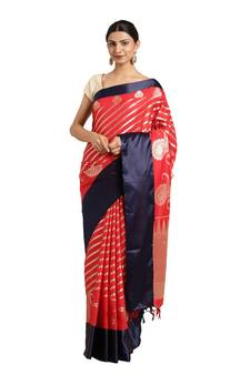 b6f4e27da Red woven katan silk saree with blouse