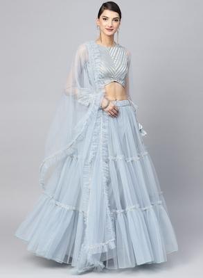Turquoise Blue Net Ruffle lehenga Fully Stitched Lehenga with Stitched Blouse & Dupatta
