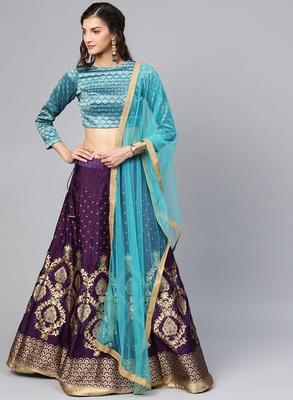 Purple Silk Blend Woven Fully Stitched Lehenga with Stitched Blouse & Dupatta