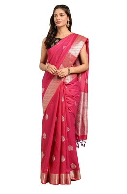 Maroon woven katan silk saree with blouse