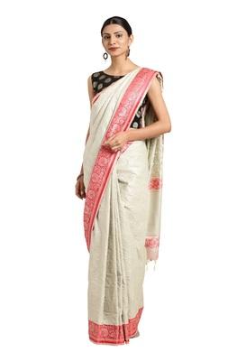 Beige woven katan silk saree with blouse