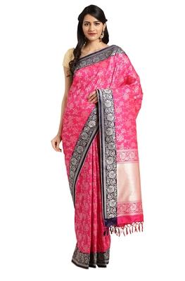 Magenta woven katan silk saree with blouse
