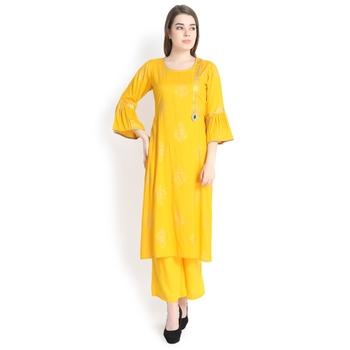 Mustard printed rayon palazzo kurta