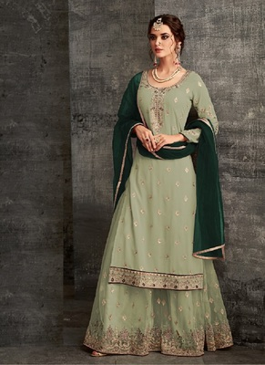 Parrot-green embroidered georgette semi stitched salwar with dupatta