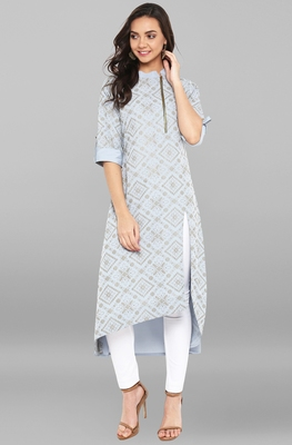 Sky-blue printed crepe kurtas and kurtis