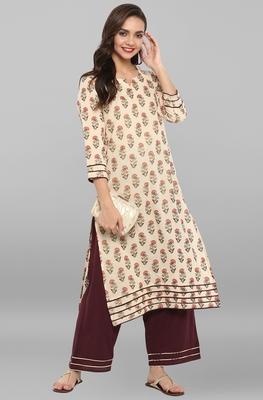 Cream printed cotton ethnic kurta set