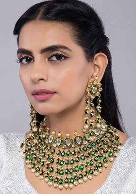 Green Meenakari And Kundan Choker With Earrings