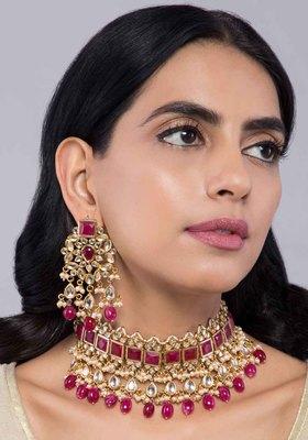 Red stones and Kundan Choker Necklace with Chandbali