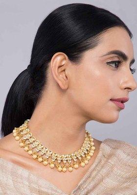 Kundan And Pearls Choker Necklace