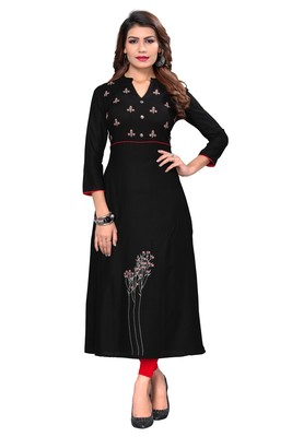 Black embroidered rayon ethnic kurtis