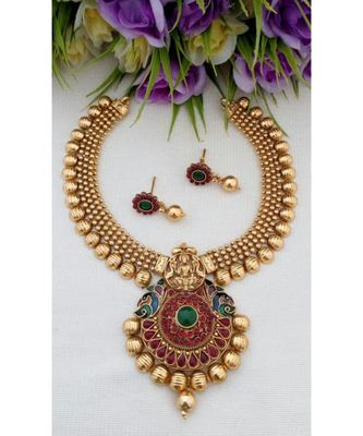 Traditional Antique Gold Neck Wear With Lakshmi Pendant & Matching Tops