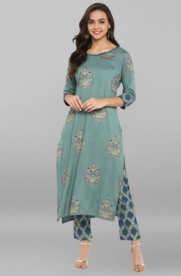 Teal printed rayon ethnic kurta set