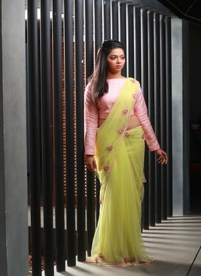 Yellow embroidered net saree with blouse