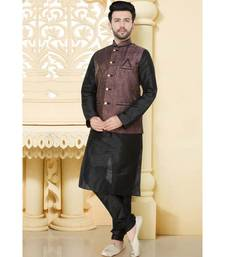 Mens black polysilk kurta set with woven jacket