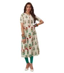 Off-white printed cotton long kurtis