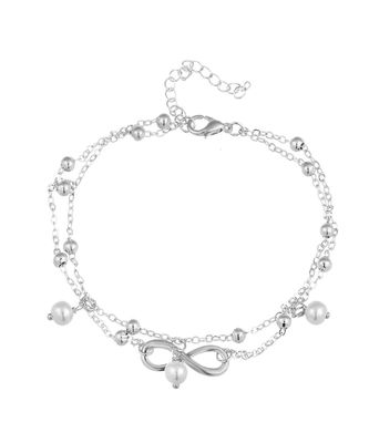 Silver Infinity Gisa Layered Anklet