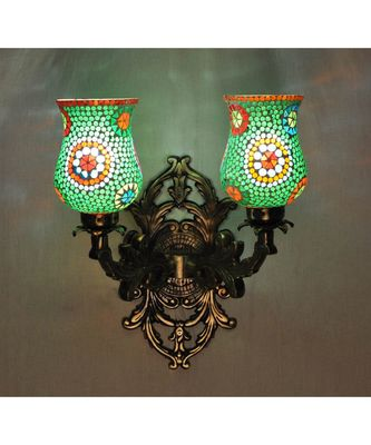 Indian Mosaic Glass Wall Decorations Wall Light Fixture with Metal Fitting Sconces