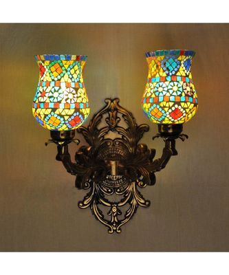 Designer Mosaic Glass Metal Fitting 2 Wall Light Sconces Best for Dining/Living Room Decorative