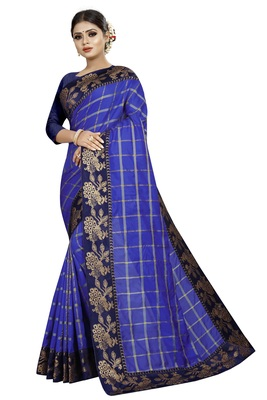 Blue woven fancy fabric saree with blouse