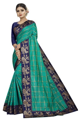 turquoise  woven fancy fabric saree with blouse