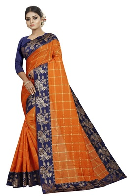 Orange woven fancy fabric saree with blouse
