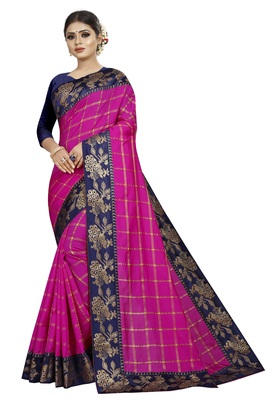 Pink woven fancy fabric saree with blouse