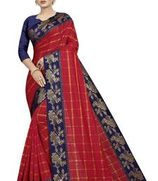 Blood red woven fancy fabric saree with blouse