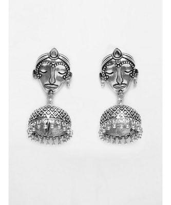 Nitya Face Oxidized Silver Ethnic Earrings