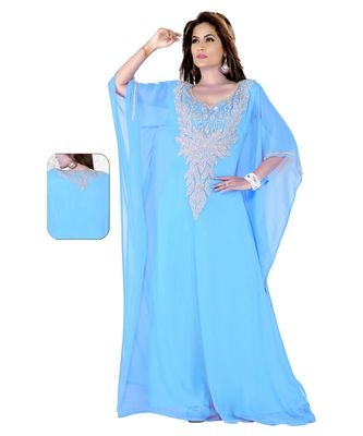 Sky Blue Embroidered Faux Georgette Farasha
