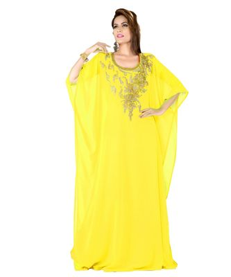 yellow embroidered faux georgette farasha
