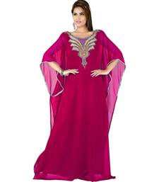 fuchsia pink embroidered faux georgette islamic kaftan
