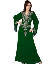 Bottle Green Embroidered Faux Georgette Islamic Kaftan