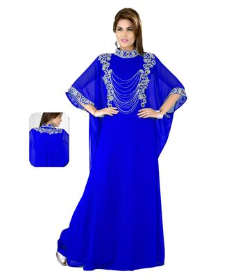 Royal Blue Embroidered Faux Georgette Farasha