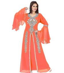 Coral Embroidered Faux Georgette Islamic Kaftan