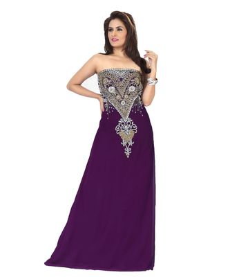 Purple Embroidered Faux Georgette Fustan