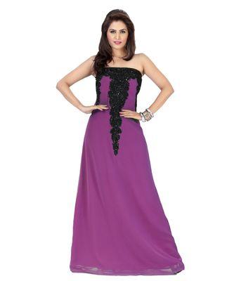Purple Embroidered Faux Georgette Fustan