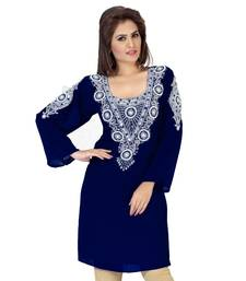 Navy Blue Embroidered Faux Georgette Kurti