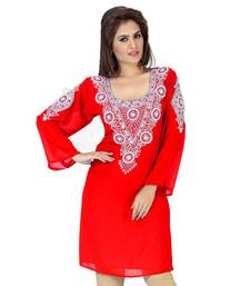 red embroidered faux georgette kurti