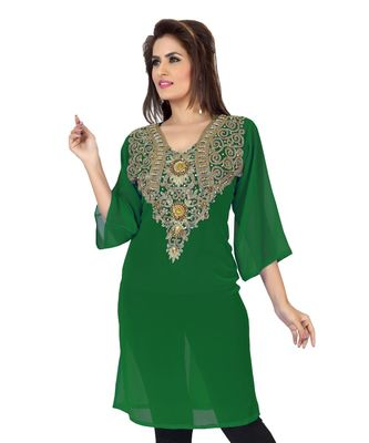 Bottle Green Embroidered Faux Georgette Kurti