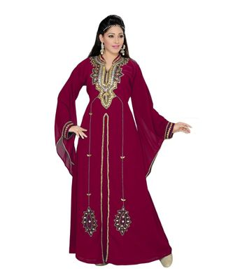 burgundy embroidered faux georgette islamic kaftan