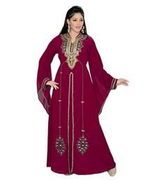 burgundy embroidered faux georgette islamic kaftan
