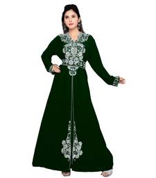 Bottle Green Embroidered Faux Georgette Islamic Kaftan